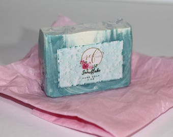Snowflake Soap  |Cold process soap Bar Soap Handmade Soap Snowflake Vegan Soap Palm free soap Bath & Beauty Teal Glitter White|