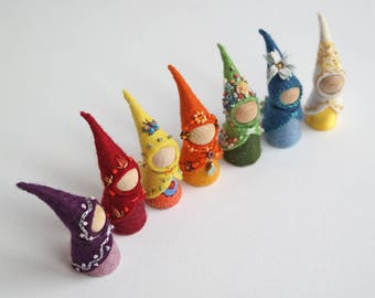 Days of the week tiny Waldorf style gnomes