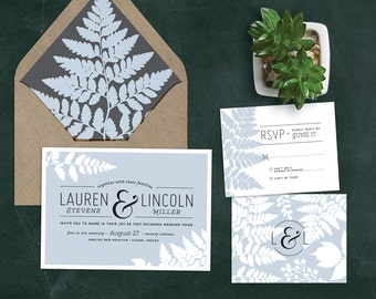 Fern Wedding Invitation Set with RSVP | Printable DIY | Woodsy, Romantic, Rustic