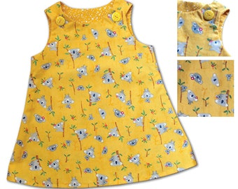 Girls Pinafore Dress (Yellow Koala)