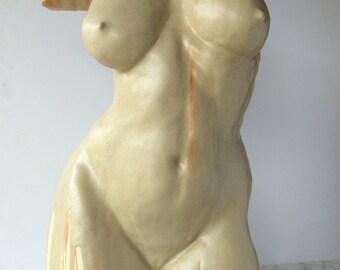 Ceramic Figure Sculpture, When It Rains, We Dance, Classical Nude Torso Indoor Outdoor