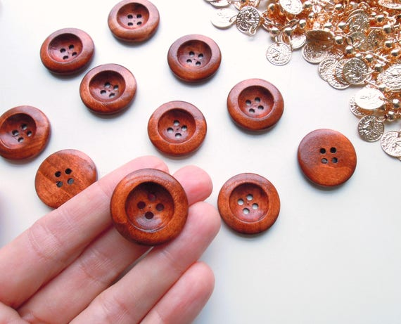 "8 Large caramel brown wooden buttons 25mm 1""  Brown wood buttons  Large sewing brown buttons  Vintage style wooden 1 inch brown buttons"