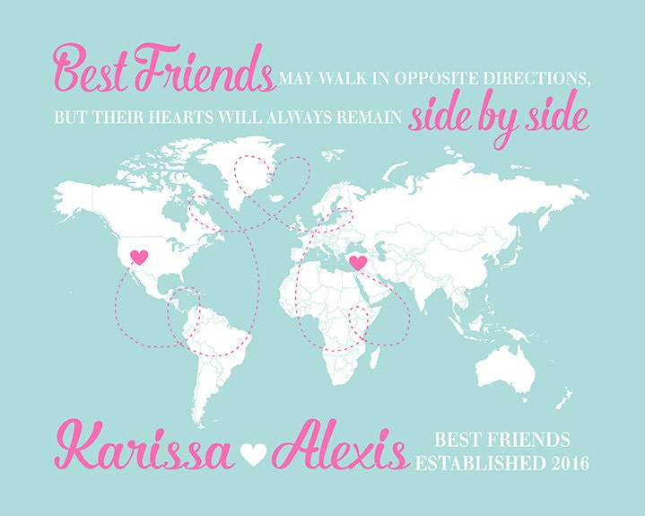 World Map Long Distance Friends Gift For Friend Moving Away