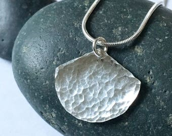 Small hammered silver fan necklace / Hammered silver ginkgo leaf pendant
