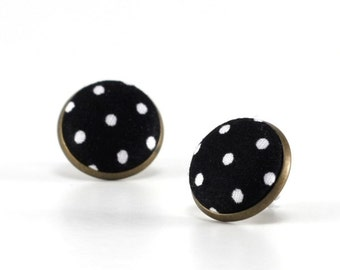 Stud Earrings, Black and White Polka Dots Earring Studs, Classic Fabric Buttons Jewelry, Elegant Earring Posts