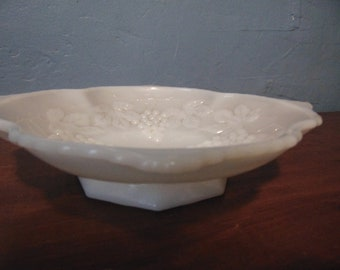 Milk Glass Grapes and Leaves Shallow Serving Bowl