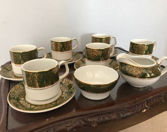 A six setting coffee service from Wood & Sons. This Apline White Ironstone service is in the Lincoln design