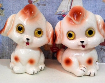 VERY RARE Vintage Antiques Puppy Dogs with glass eyes Salt and Pepper Shakers Lefton Collectibles or Wedding Cake Toppers