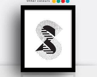 Letter S print - hand drawn typeface