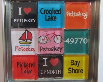 PETOSKEY, Harbor Springs, Up North, Charlevoix, Traverse City, Mackinac Island, Great Lakes, Fridge Magnets Set, Northwest Michigan