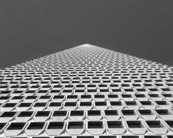 Transamerica Pyramid, black and white photography, San Francisco architecture