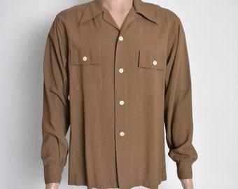 Vintage 1940s Gabardine Shirt 40s Brown Gab Wide Collar Sportswear