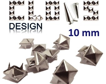 Custom clothing set of 50 10mm silver studs