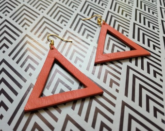 Earrings big triangle leather
