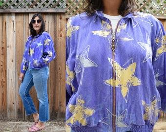 Vintage 80s Purple STAR Print JACKET S M