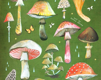 Mushroom Chart Print | Fungi Identification | Watercolor Wall Art | Fungi Identification | Field Guide | Katie Daisy |  8x10 11x14