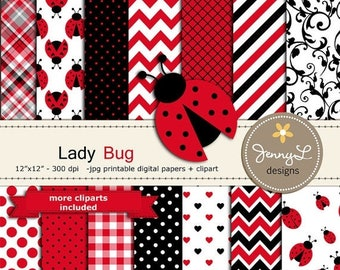 50% OFF Lady Bug Digital Papers and clipart, Summer Lady Bug for Digital scrapbooking, invitations, birthday