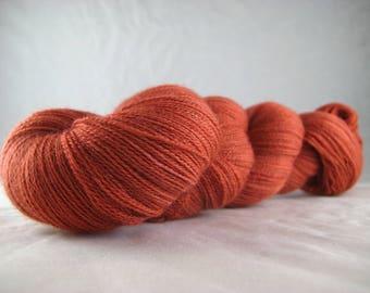 Rust - Hand Dyed Superwash Merino Silk Cobweb Lace Yarn