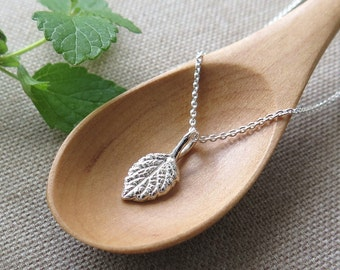 Tiny Lemon Balm Leaf Pendant Necklace - Pure Silver REAL Leaf Jewelry, Herb Jewelry, Gardener Gift
