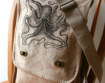 Octopus Canvas Messenger Bag Laptop Bag
