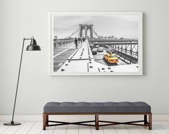 New York, New York Print, Yellow Cab Print, Brooklyn Bridge Photography, Large New York Art, Monochrome Print, Living Room Wall Decor, NYC