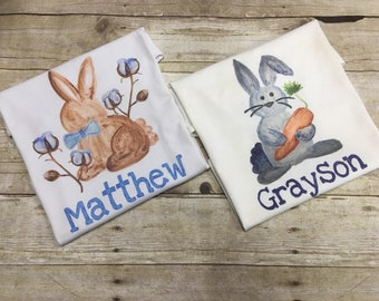 Baby First Easter Shirt/ Bunny Shirt/ Easter Shirt for Boys/ Easter Bunny Shirt Kids/ Rabbit Shirt/ Easter Watercolor Shirt/ FAST SHIPPING