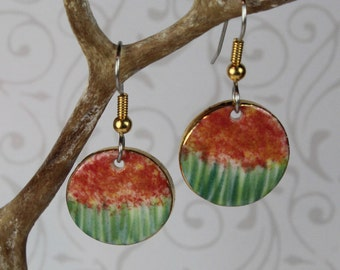 Red Monet Earrings Handmade Porcelain Dangle Ceramic Clay Jewelry