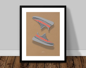 Yeezy Boost 350 v2 Grey Orange Illustrated Poster Print | A6 A5 A4 A3