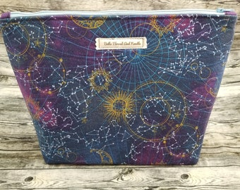 Astronomy zipper pouch/Constellations/Night sky/Galaxy/Mystic sky/Sun and Moon/Zipper pouch/makeup pouch/Craft bag/Toiletry bag