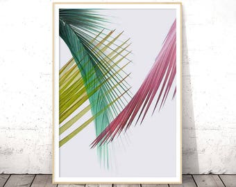 Palm Leaf Print, Pink Green Wall Art, Tropical Poster, Botanical Printable, Digital Download, Modern Home Decor, Greenery Poster, Leaves Art