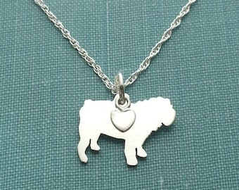 English BullDog Necklace, Sterling Silver Personalize Pendant, Breed Silhouette Charm Rescue Shelter, Mothers Day Gift