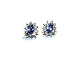 Vintage Sterling Amethyst Cubic Zirconia Cluster Earrings