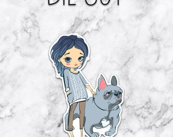 BLUE haired GIRL and her BULLDOG — die cut