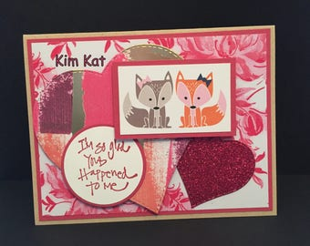FOX Valentine Card Pop Up 3D Glad You Happened To Me Valentine's Day Stampin Up OOAK Mixed Media Handmade