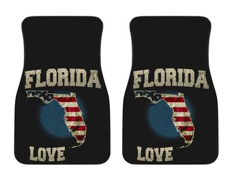 Florida/Love/Floor Mats/American Flag/Car/Truck/SUV/Auto/RV/Gifts/State Flag/Art/Home