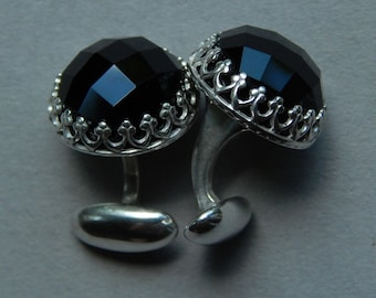 Men's black onyx sterling silver cufflinks