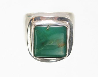 Natural Chrysoprase Statement Ring Sterling Silver  SIZE 6 1/2  (RNG26)