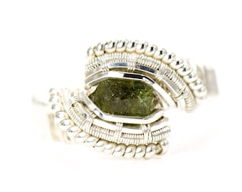 Uvite Tourmaline Wire Wrapped Ring - Green Gem - Size 7.25 - Shining Opus Designs
