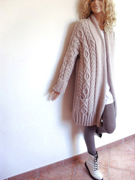 Womens Cable Knit Sweater Knitted Merino Wool Cardigan
