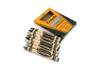 1987 Box of Crayons Metallic Effect Crayola with Original Box  Binney & Smith Made in the USA Silver Gold and Copper