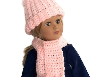 18 Inch Doll Hat and Scarf, Pink Crocheted Doll Hat and Scarf, Fits 18 Inch Dolls, Winter Doll Clothes