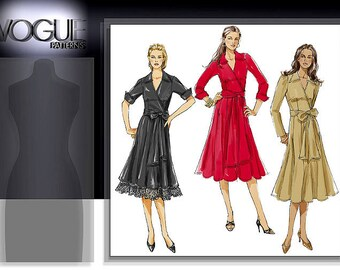 Vogue sewing pattern V8315: Faux Wrap Dress, Size 18-22, Mid Knee