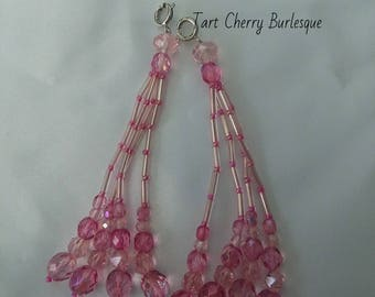 Pink and Rose Crystal Beaded Nipple Tassels for Burlesque Pasties
