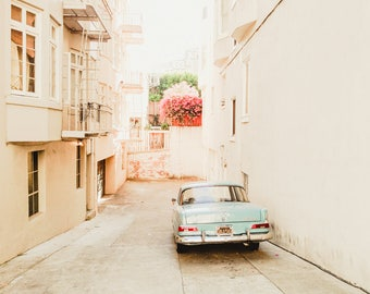 "San Francisco, California Travel Photography, ""Vintage Car in Alley"" Gallery Wall Art Print, Home Decor"