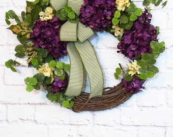 Purple Hydrangea Wreath, Purple Wreath, Hydrangea Wreath, Mothers Day Gift, Any Season Wreath, Grapevine Wreath