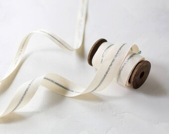 "Silver Metallic Center Stripe Line Natural Canvas Ribbon (with Wooden Spool) - 5 yards - 3/8"" or 7/8"" wide"