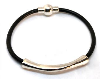 Black Thin Silver Leather Bangle, Stacking Bangle, Leather Tube Bangle, Layering Bracelet, Gift for Her, Stacking Bracelet Magnetic Bracelet