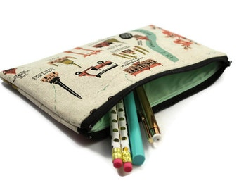 Pencil Pouch - Makeup Bag - Zipper Pouch - Cosmetic Bag - Zipper Clutch - Pencil Bag - Pencil Case - Gadget Bag in Rifle Paper Co City Maps