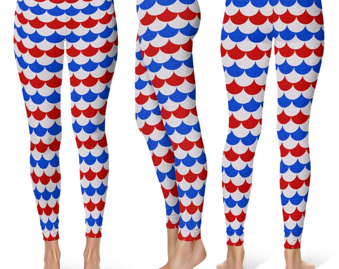 Fourth of July Leggings, USA Patriotic Yoga Pants, American Flag, Red White and Blue Dragon Scales, Mermaid Scales, Fish Scales