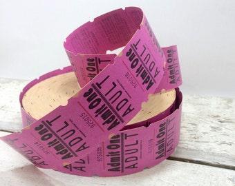 Vintage Pink/Purple ADMIT ONE Tickets